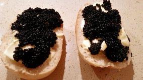 Sanduíches com caviar preto Fotografia de Stock Royalty Free