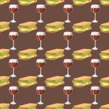 Sanduíches com do café da manhã rápido saudável sem emenda do teste padrão do vidro de vinho ilustração deliciosa do vetor do jan ilustração stock