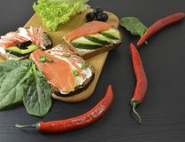 Sanduíches com manteiga e peixes na tabela imagens de stock royalty free