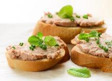 Sanduíches com pasta e as cebolas verdes Fotografia de Stock Royalty Free