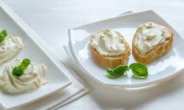 Sanduíches com queijo creme Fotos de Stock Royalty Free