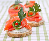 Sanduíches com salmões Foto de Stock
