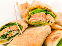 Sanduíches com salmões Fotografia de Stock