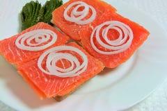 Sanduíches com salmões, cebolas e pepinos Imagem de Stock Royalty Free