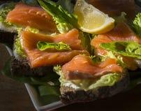 Sanduíches com salmões e limão Imagens de Stock