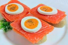 Sanduíches com salmões, ovos e salsa Fotografia de Stock