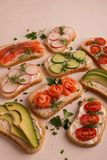 Sanduíches com salmões, pepino, tomates, abacates e verdes, vegetal cortado imagem de stock royalty free