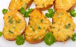 Sanduíches cozidos com queijo Fotografia de Stock