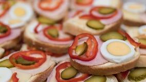 sanduíches da Aberto-cara com salsicha e vegetais como um fundo foto de stock