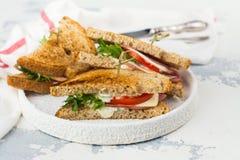 Sanduíches de clube caseiros Fotografia de Stock Royalty Free