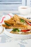 Sanduíches de clube caseiros Fotos de Stock Royalty Free