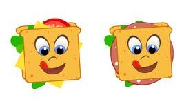 Sanduíches de sorriso da língua e dos olhos com tomate, alface, queijo e salsicha ilustração stock
