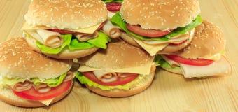 Sanduíches deliciosos Foto de Stock Royalty Free