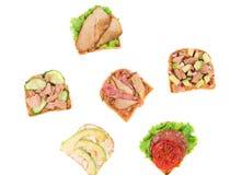 Sanduíches deliciosos Fotos de Stock