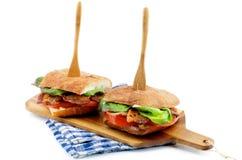 Sanduíches do bacon de Ciabatta Foto de Stock