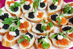 Sanduíches do caviar Foto de Stock Royalty Free