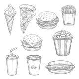 Sanduíches do fast food, bebida e esboço da sobremesa ilustração stock
