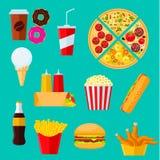 Sanduíches do fast food, sobremesas e ícone das bebidas ilustração stock