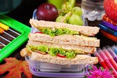 Sanduíches do pão do brinde para o café da manhã da escola Foto de Stock Royalty Free