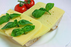 Sanduíches do queijo com tomates e manjericão Fotografia de Stock