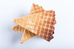 Sanduíches do waffle com o leite condensado fervido isolado no fundo branco fotografia de stock royalty free