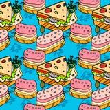 Sanduíches e cheeseburger Imagens de Stock Royalty Free