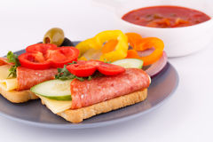 Sanduíches e molho Fotografia de Stock