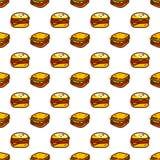 Sanduíches e teste padrão sem emenda do hamburguer ilustração stock