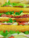 Sanduíches em um restaurante de comida rápida Foto de Stock Royalty Free