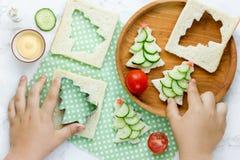 Sanduíches engraçados do Natal com fatia do pepino, estrela do tomate e Imagem de Stock Royalty Free
