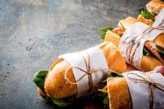 Sanduíches frescos do baguette fotografia de stock
