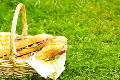 Sanduíches longos do baguette na cesta imagens de stock royalty free