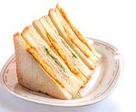 Sanduíches na frente de uma bandeja de vários enchimentos Imagens de Stock