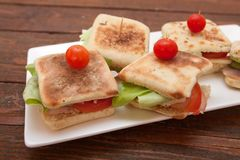 Sanduíches pequenos com salmões, queijo e vegetais Imagem de Stock