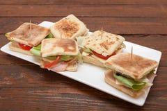 Sanduíches pequenos com salmões, queijo e vegetais Imagem de Stock Royalty Free