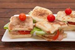 Sanduíches pequenos com salmões, queijo e vegetais Foto de Stock