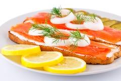 Sanduíches Salmon Imagens de Stock