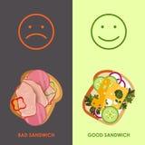 sanduíches Vector a ilustração de diversos tipos diferentes da SU Foto de Stock