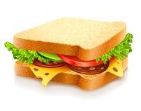 Sanduíche apetitoso com queijo e vegetais Foto de Stock