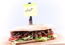 Sanduíche com dieta da nota Imagem de Stock