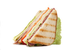 Sanduíche grande do triângulo em um fundo branco Fotografia de Stock Royalty Free
