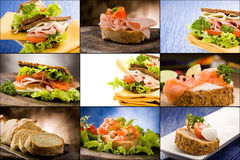 Sanduíches - colagem Imagens de Stock