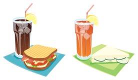 Sanduíches e bebidas Foto de Stock