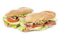 Sanduíches no branco Fotografia de Stock