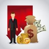 Sanduhr, Dollar und Euro Stockfoto