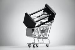 Sanduhr im Lebensmittelgeschäftwarenkorb Stockfotos