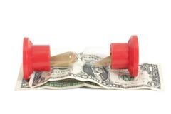 Sanduhr mit Dollar Lizenzfreies Stockfoto