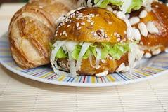 Sandvich do croissant Fotos de Stock Royalty Free