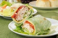 Sandwch do clube de Turquia com uma salada Imagem de Stock Royalty Free