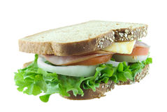 Sandwhich. Sandwich on wheat bread isolated on white Stock Image